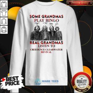 Plaid Some Grandmas Play Bingo Real Grandmas Listen To Creedence Clearwater Revival Signature Sweatshirt- Design by Waretees.com