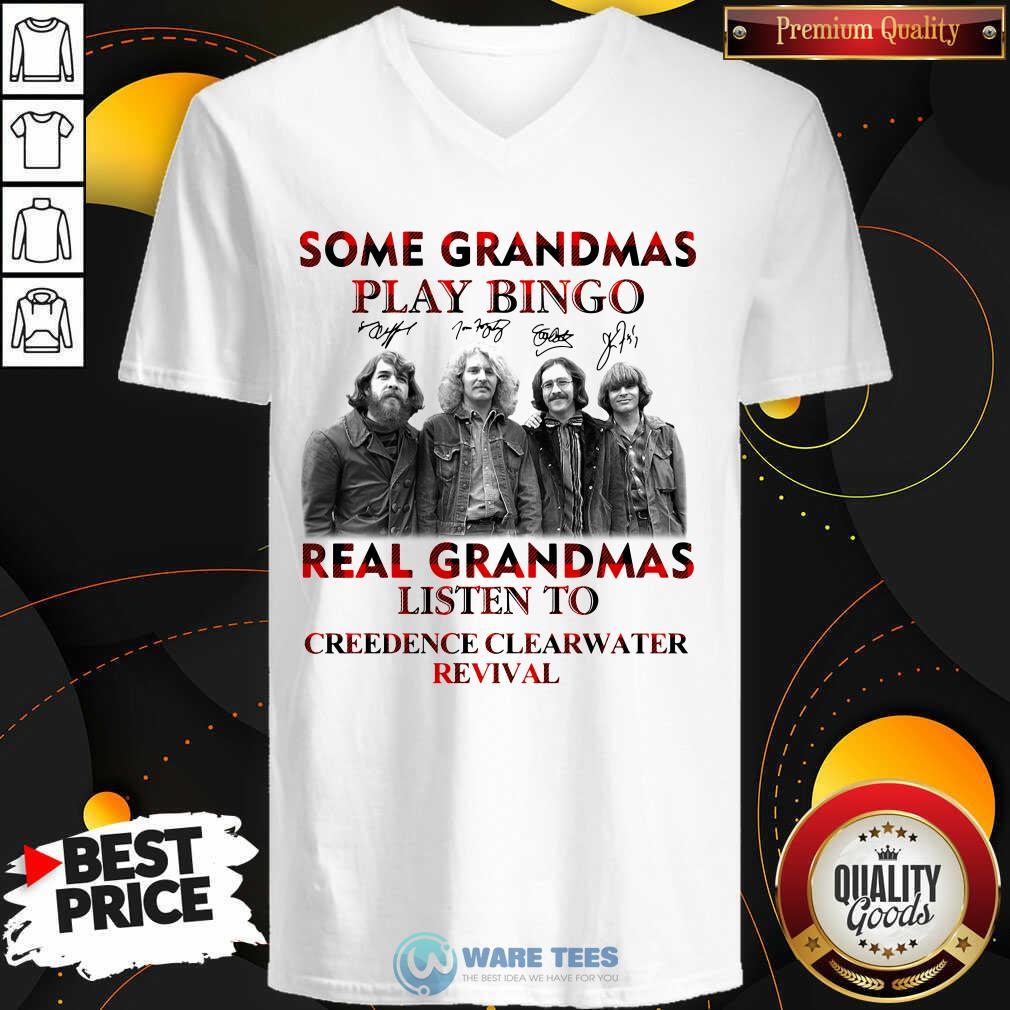 Plaid Some Grandmas Play Bingo Real Grandmas Listen To Creedence Clearwater Revival Signature V-neck- Design by Waretees.com