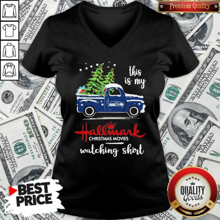Seattle Seahawks This Is My Hallmark Christmas Movies Watching V-neck - Design By Waretees.com