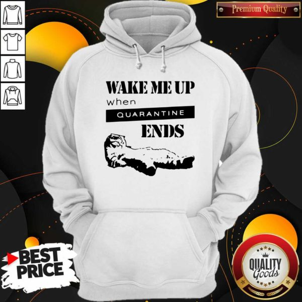Nice Tired Cat Says Wake Me Up When Quarantine Ends Us 2020 Hoodie - Design by Waretees.com