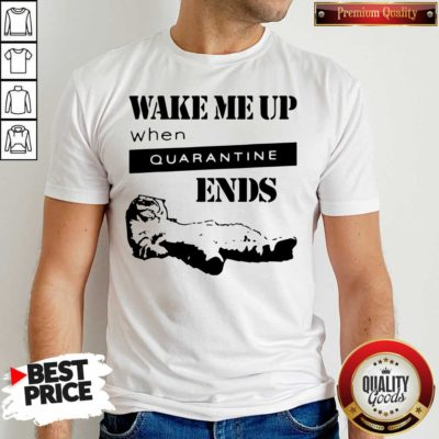 Nice Tired Cat Says Wake Me Up When Quarantine Ends Us 2020 Shirt - Design by Waretees.com