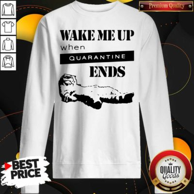 Nice Tired Cat Says Wake Me Up When Quarantine Ends Us 2020 Sweatshirt - Design by Waretees.com