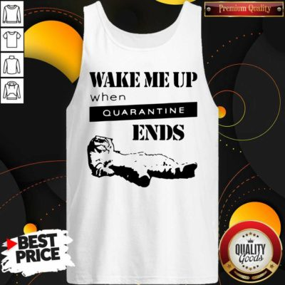 Nice Tired Cat Says Wake Me Up When Quarantine Ends Us 2020 Tank Top - Design by Waretees.com
