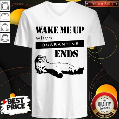 Nice Tired Cat Says Wake Me Up When Quarantine Ends Us 2020 V-neck - Design by Waretees.com