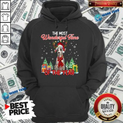 Nice Whippet The Most Wonderful Time Of The Year Ugly Christmas Hoodie - Design by Waretees.com