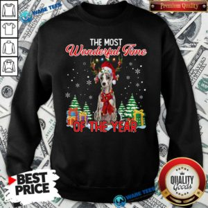 Nice Whippet The Most Wonderful Time Of The Year Ugly Christmas Sweatshirt - Design by Waretees.com