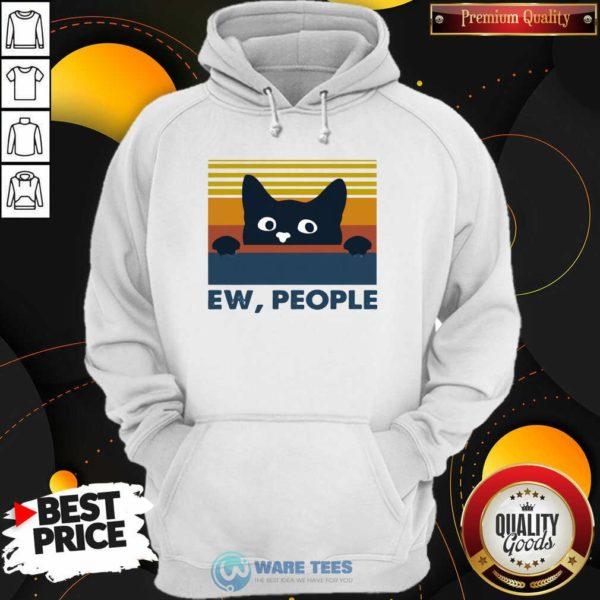 Black Cat Ew People Vintage Retro Hoodie- Design by Waretees.com