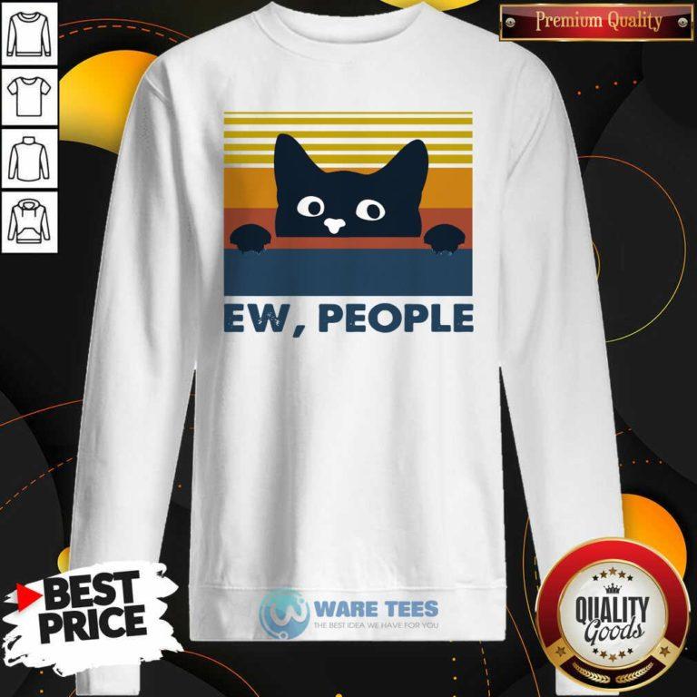 Black Cat Ew People Vintage Retro Sweatshirt- Design by Waretees.com