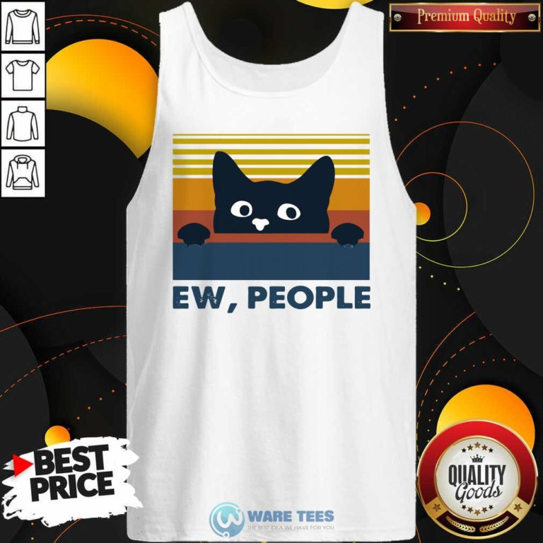 Black Cat Ew People Vintage Retro Tank-Top- Design by Waretees.com
