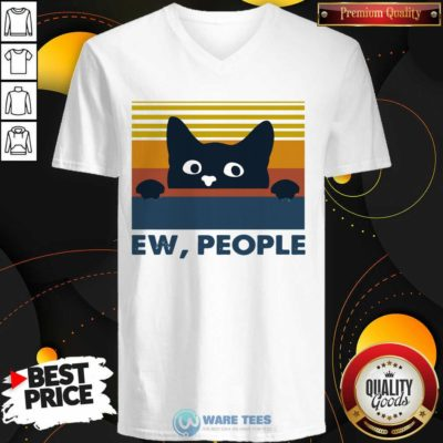 Black Cat Ew People Vintage Retro V-neck- Design by Waretees.com