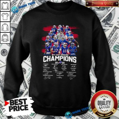 Buffalo Bills AFC East Division Champions Signatures Sweatshirt- Design by Waretees.com