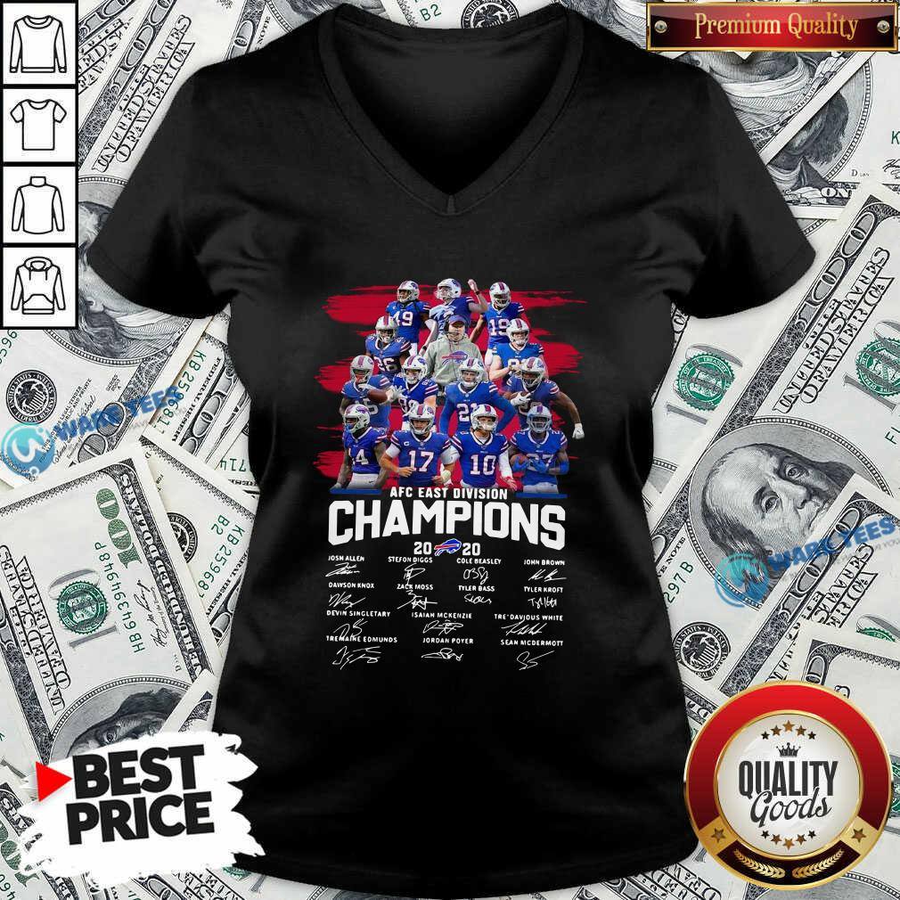 Buffalo Bills AFC East Division Champions Signatures V-neck- Design by Waretees.com