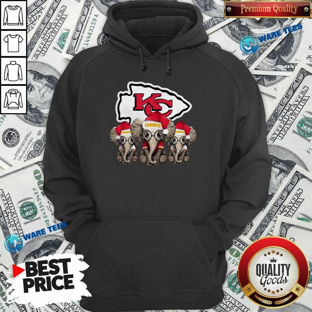 Official Cute Kansas City Chiefs Elephant Christmas Hoodie - Design by Waretees.com