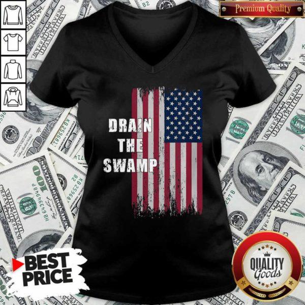 Drain The Swamp President Donald Trump Usa Flag V-neck - Design By Waretees.com