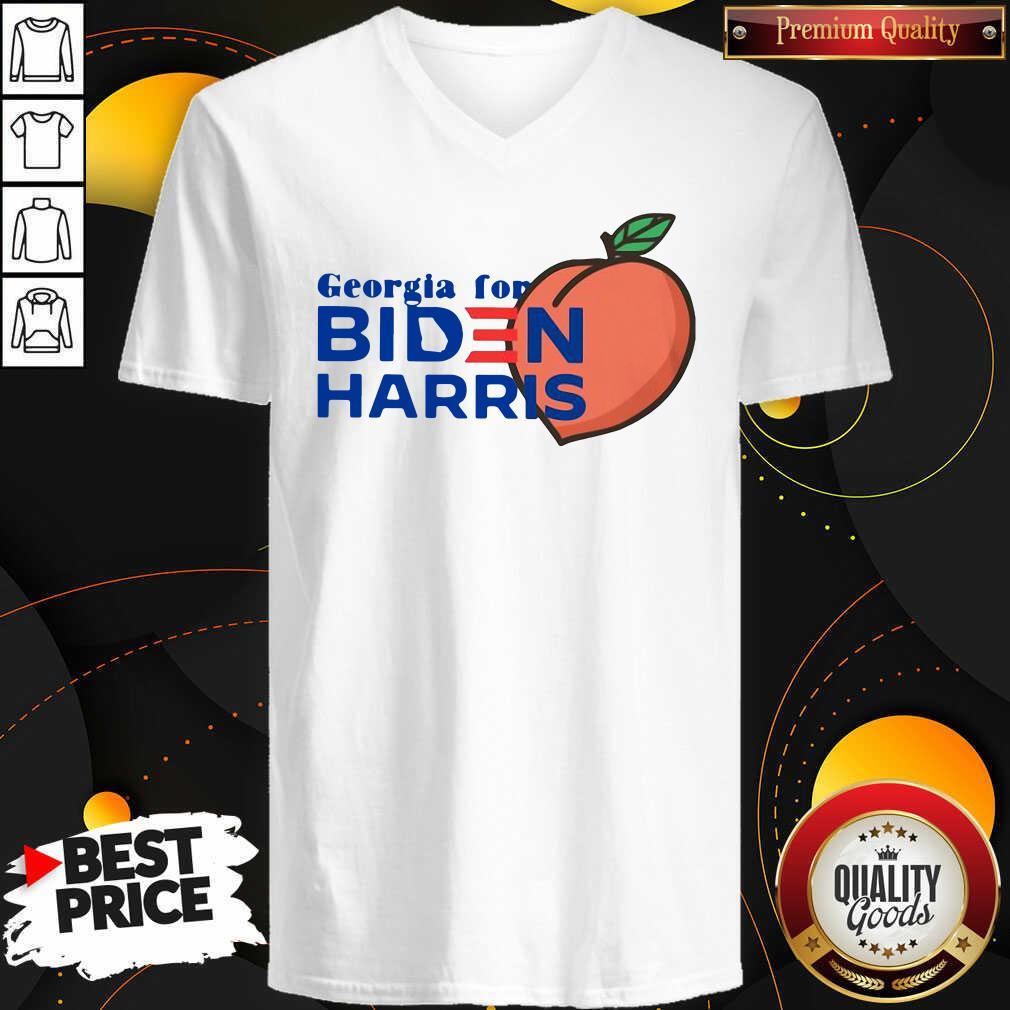 Official Georgia For Biden Harris Peach V-neck - Design by Waretees.com