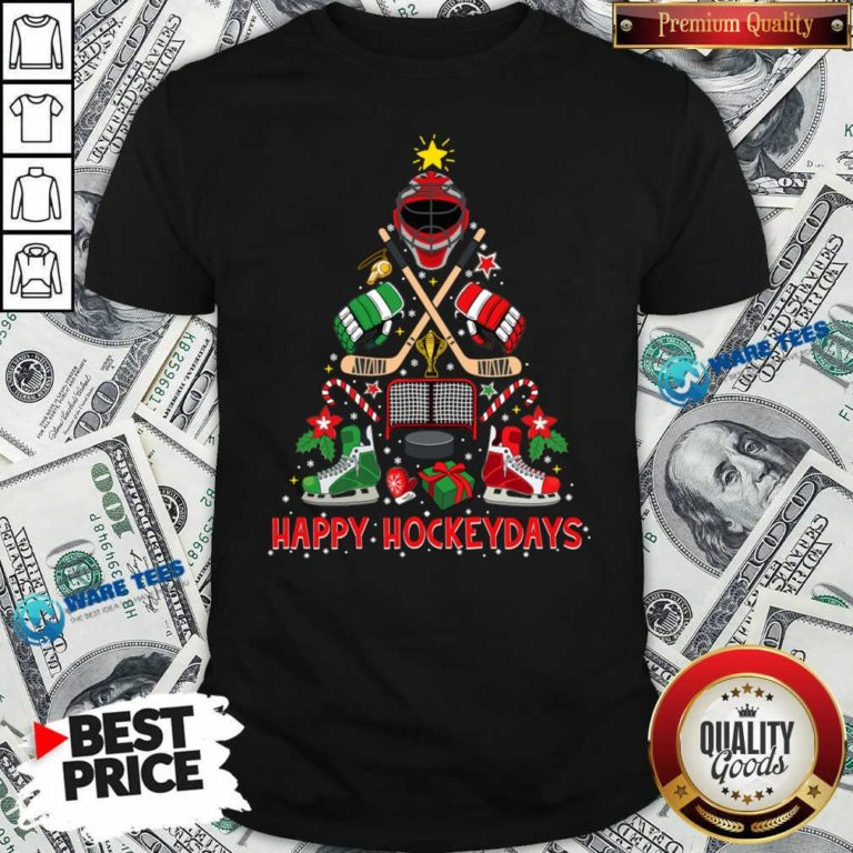 Happy Hockey Days Ice Hockey Christmas Tree Christmas Shirt- Design by Waretees.com