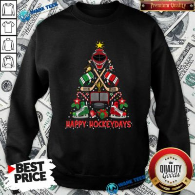 Happy Hockey Days Ice Hockey Christmas Tree Christmas Sweatshirt- Design by Waretees.com