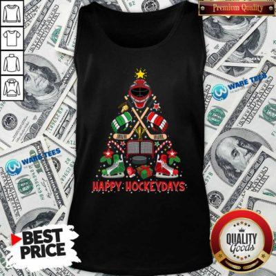 Happy Hockey Days Ice Hockey Christmas Tree Christmas Tank-Top- Design by Waretees.com