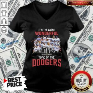 It's The Most Wonderful World Series 2020 Time Of Dodgers Signatures V-neck- Design by Waretees.com
