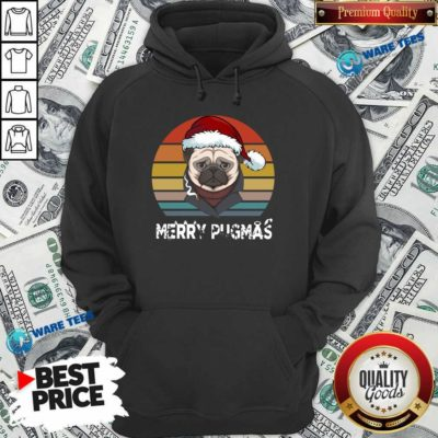 Official Merry Pugmas Funny Pug Christmas Style Vintage Hoodie - Design by Waretees.com
