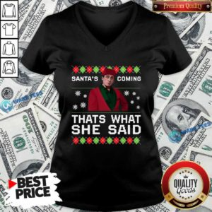 Michael Scott Santa's Coming That's What She Said Ugly Christmas V-neck- Design by Waretees.com