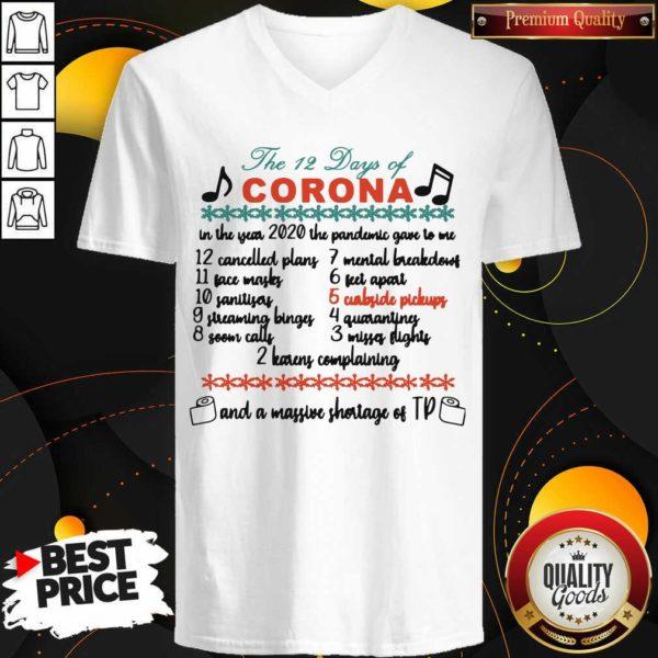 Official The 12 Days Of Corona Christmas V-neck - Design by Waretees.com