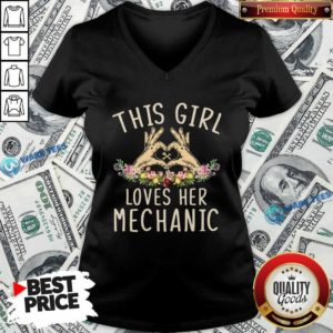 This Girl Loves Her Mechanic Vintage V-neck- Design by Waretees.com