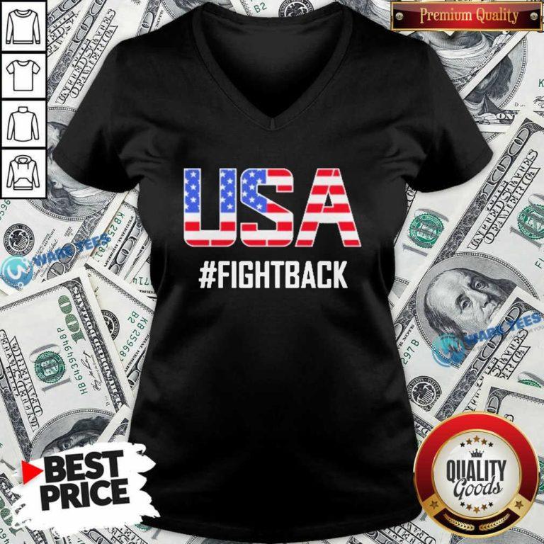 Official USA #fightback American V-neck - Design by Waretees.com