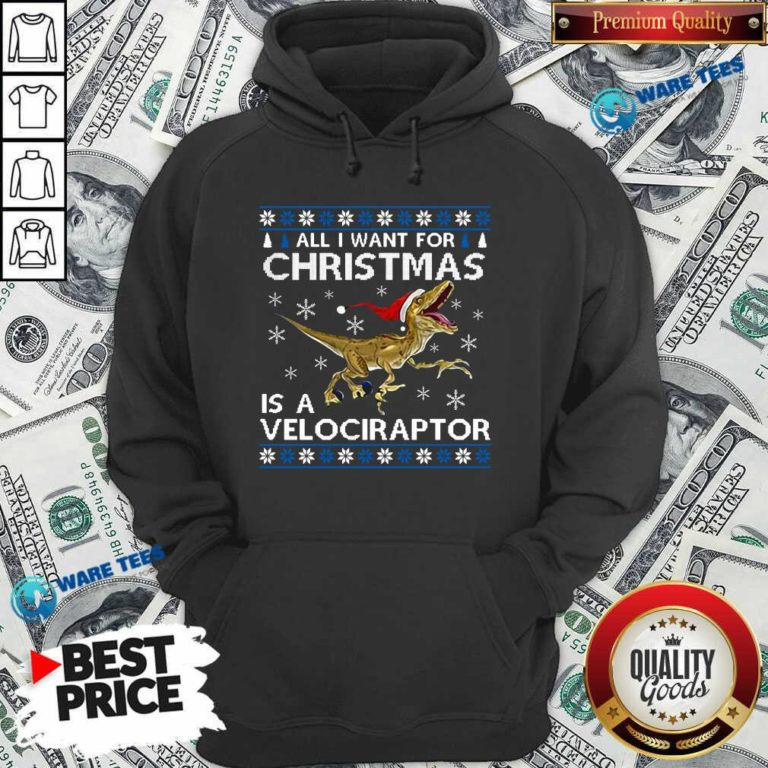 Original All I Want For Christmas Is A Velociraptor Dinosaur Hoodie - Design by Waretees.com