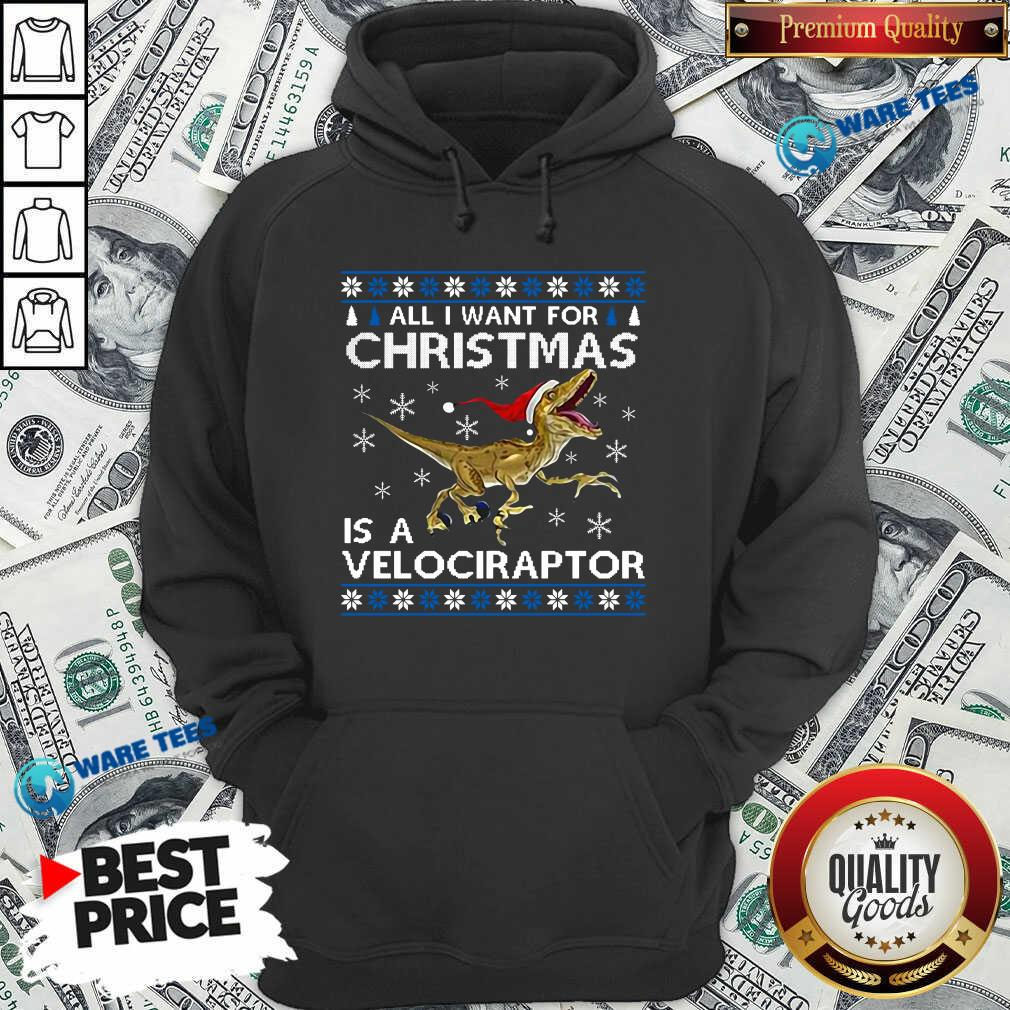 Original All I Want For Christmas Is A Velociraptor Dinosaur Hoodie - Design by Waretees.com