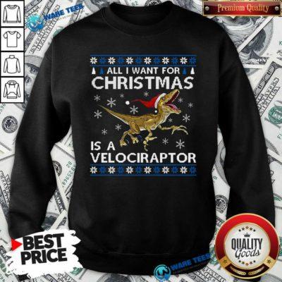 Original All I Want For Christmas Is A Velociraptor Dinosaur Sweatshirt - Design by Waretees.com