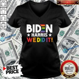 Original Biden Harris We Did It LGBT V-neck - Design by Waretees.com