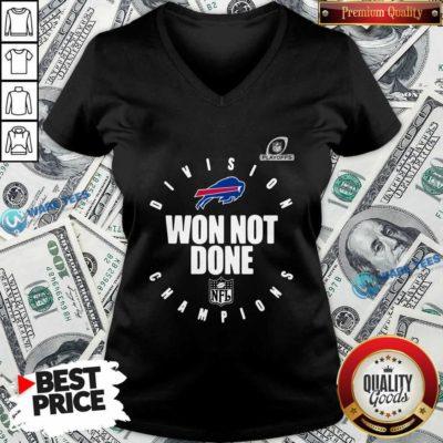 Buffalo Bills Champions 2020 Won Not Done V-neck- Design by Waretees.com