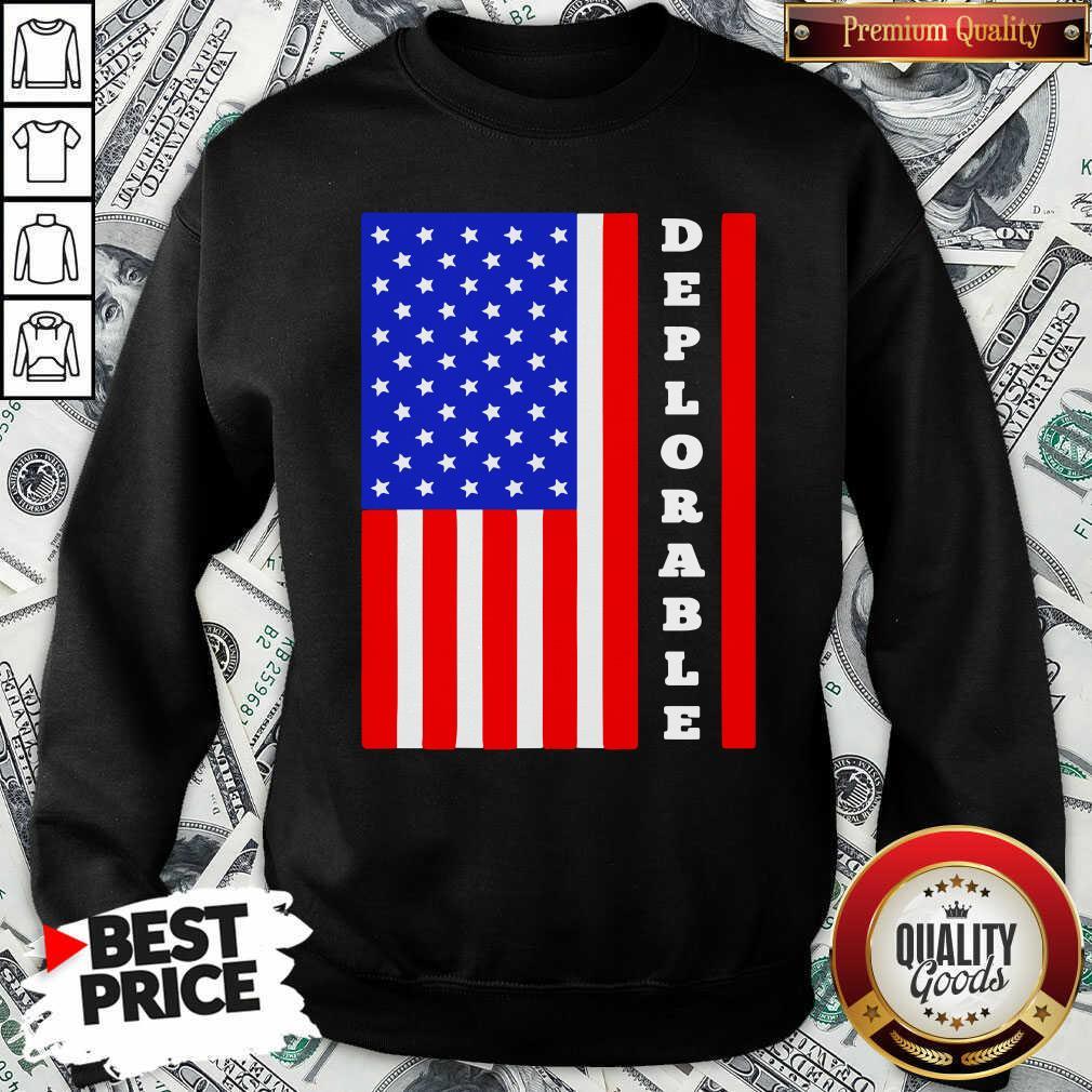 Deplorable American Flag Sweatshirt  - Design By Waretees.com