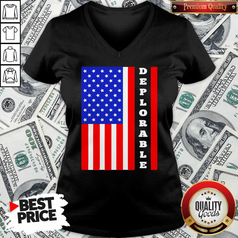 Deplorable American Flag V-neck  - Design By Waretees.com