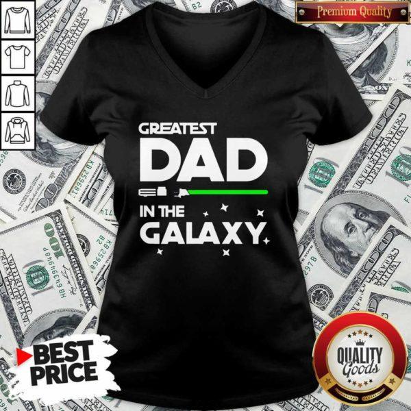 Original Greatest Dad In The Galaxy V-neck - Design by Waretees.com