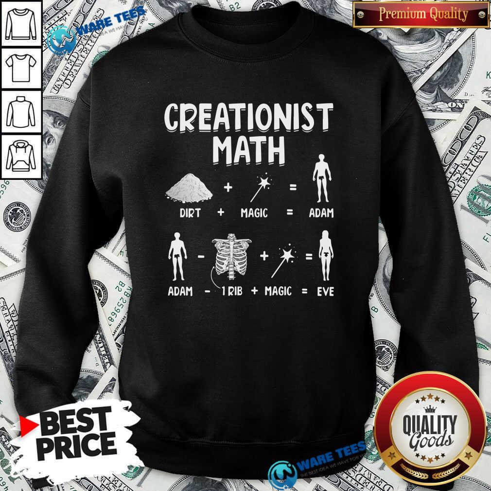 Creationist Math Dirth Plus Magic Equal Adam Sweatshirt- Design by Waretees.com