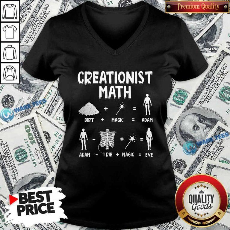 Creationist Math Dirth Plus Magic Equal Adam V-neck- Design by Waretees.com