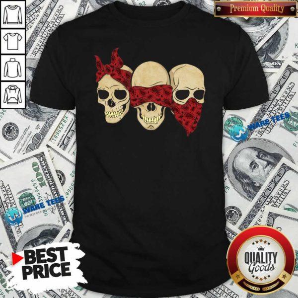 Hear See Speak No Evil Skull Heads Shirt- Design by Waretees.com