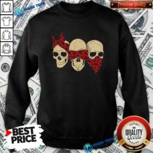 Hear See Speak No Evil Skull Heads Sweatshirt- Design by Waretees.com