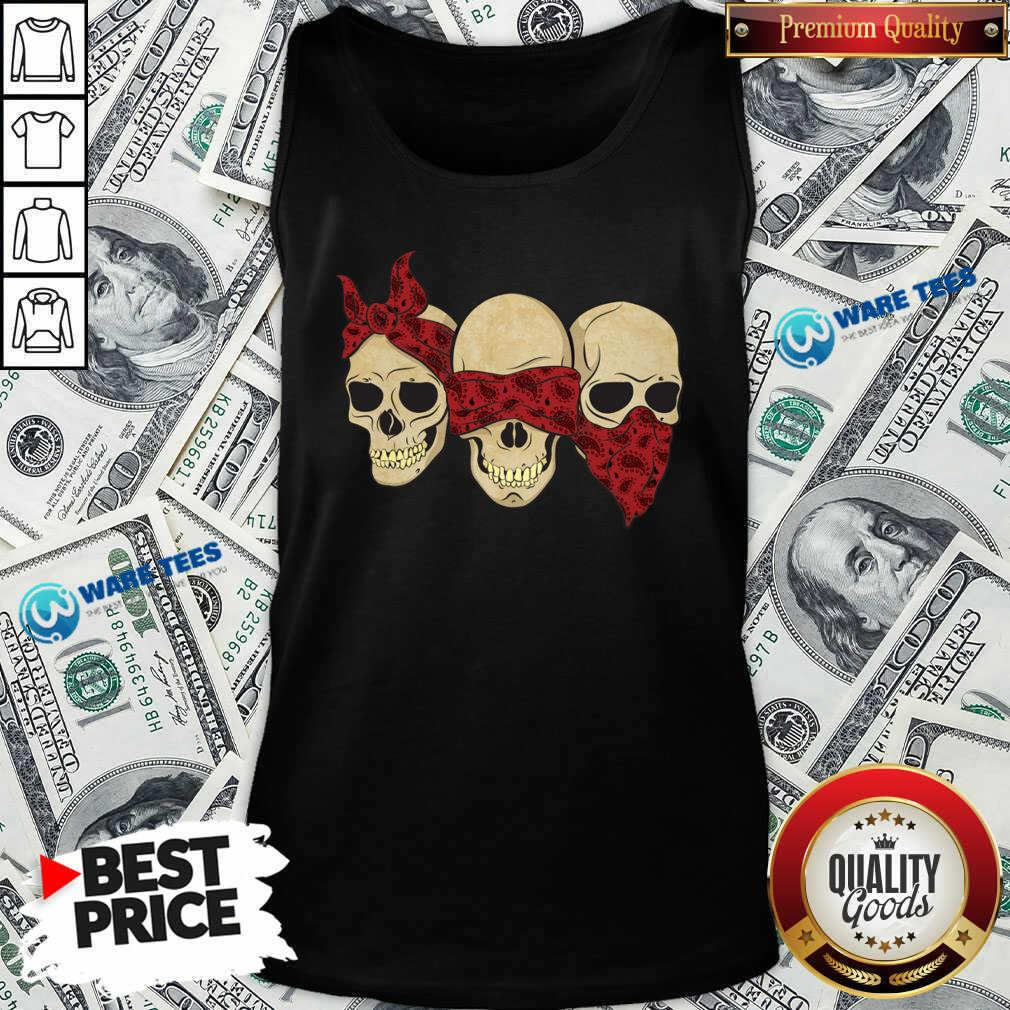 Hear See Speak No Evil Skull Heads Tank-Top- Design by Waretees.com