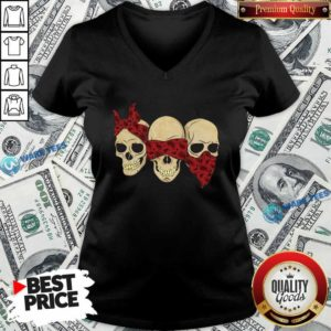 Hear See Speak No Evil Skull Heads V-neck- Design by Waretees.com