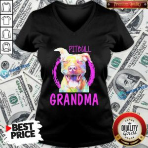 Pitbull Grandma V-neck- Design by Waretees.com