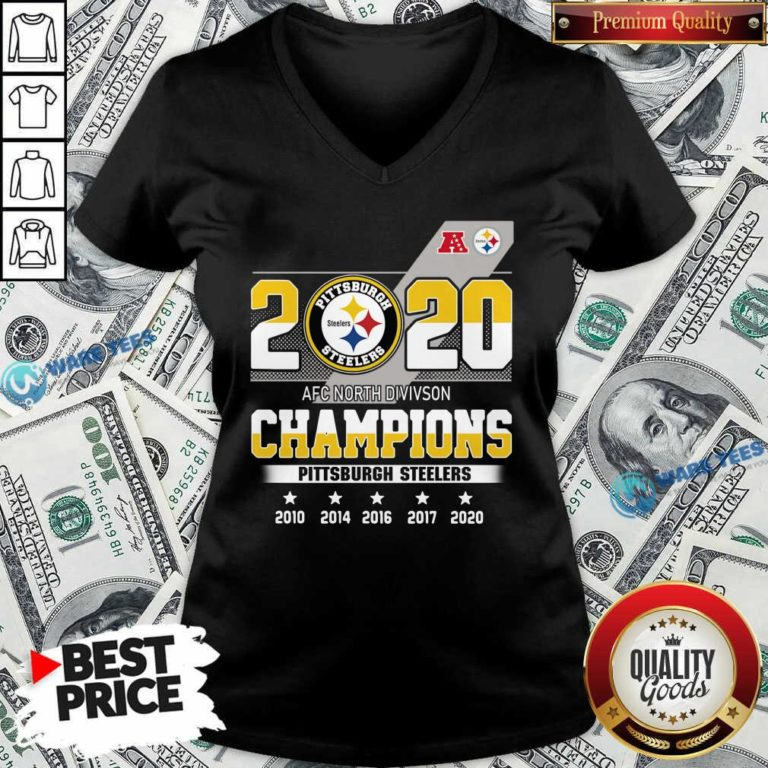 Pittsburgh Steelers Afc North Division Champions 2010 2020 V-neck- Design By Waretees.com