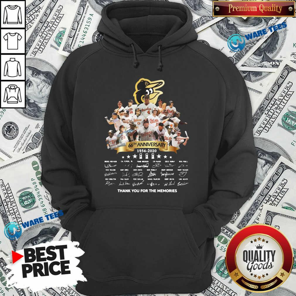 Baltimore Orioles 66th Anniversary 1954 2020 Thank You For The Memories Signatures Hoodie- Design by Waretees.com