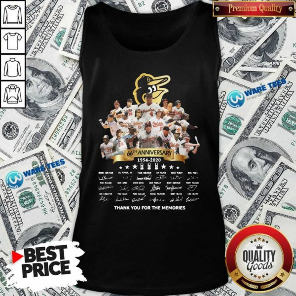 Baltimore Orioles 66th Anniversary 1954 2020 Thank You For The Memories Signatures Tank-Top- Design by Waretees.com