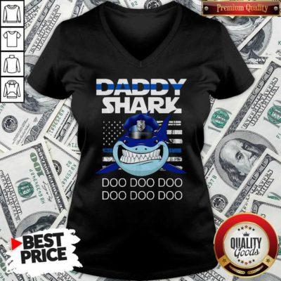 Daddy Shark Police Do Do Do V-neck - Design By Waretees.com