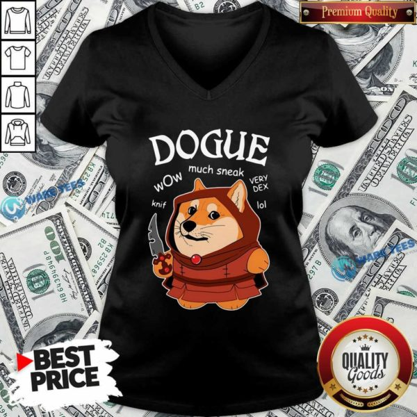 Dogue Wow Much Sneak Very Dex Knif Lol Corgi V-neck- Design by Waretees.com