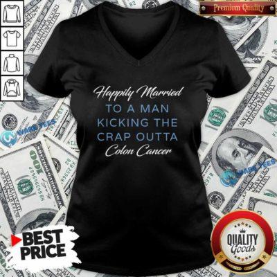 Premium Happily Married Man Kicking Colon Cancer V-neck - Design by Waretees.com