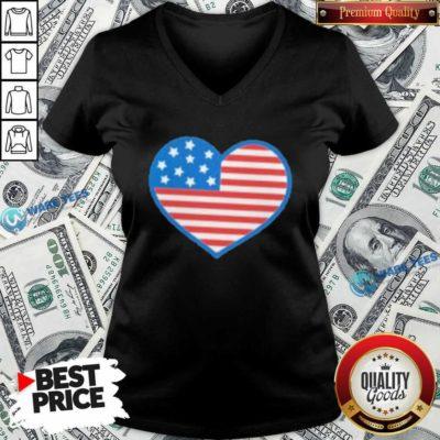Heart American Flag 2021 V-neck- Design by Waretees.com